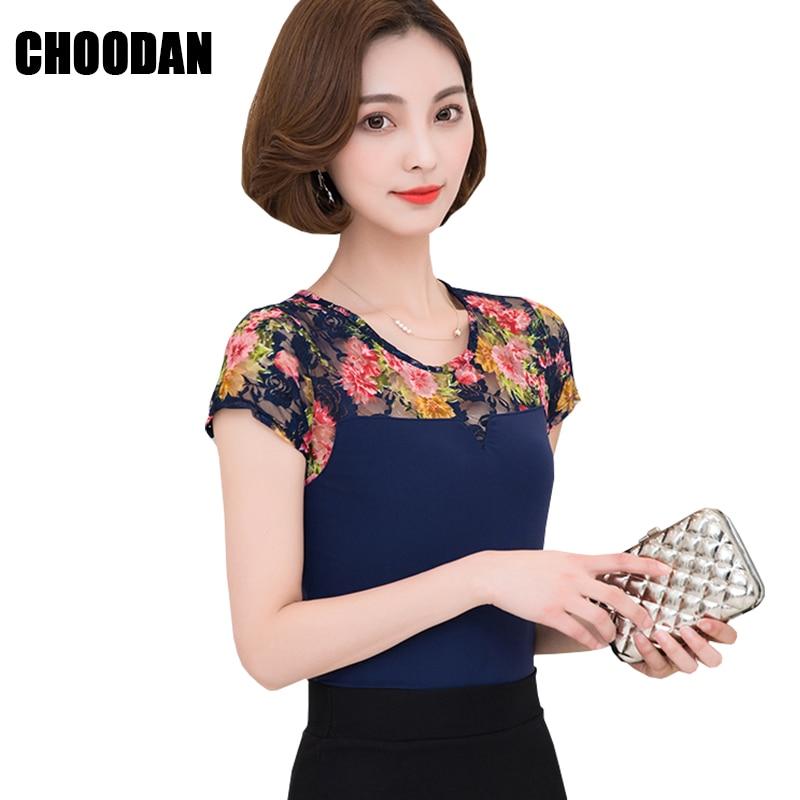 Mesh Blouse Shirt Elegant Flower Print Women Shirts Short Sleeve 2018 Summer Fashion Lace Patchwork Ladies Tops Fitness Clothing