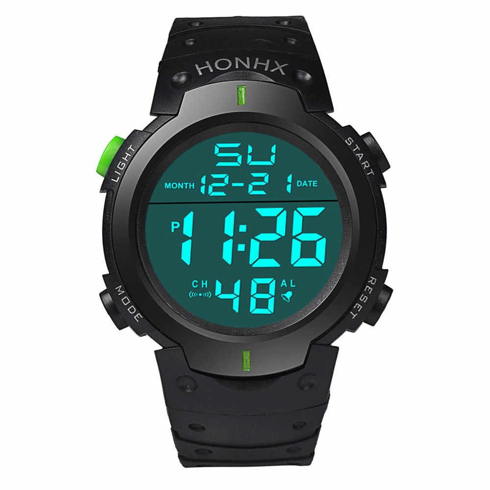 Cronómetro Digital LCD a prueba de agua a la moda para hombre, reloj de pulsera luminoso con fecha de goma para deporte, reloj de pulsera deportivo de lujo de marcas 2019 A80