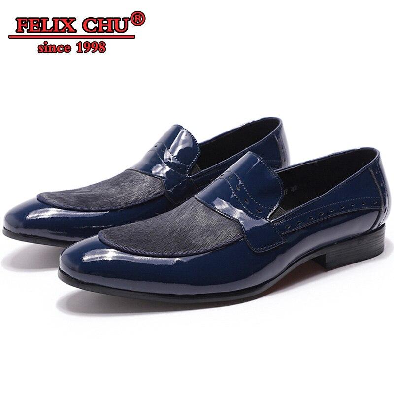 FELIX CHU LUXE MANNEN CASUAL SCHOENEN ECHT LEER OFFICE BUSINESS BLAUW ZWARTE SLIP OP HANDGEMAAKTE CASUAL HEREN INSTAPPERS LEDEREN SCHOENEN-in Casual schoenen voor Mannen van Schoenen op  Groep 1