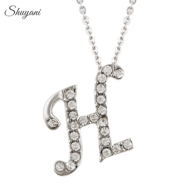 Shuyani silver crystal rhinestone h letter charm initial alphabet shuyani silver crystal rhinestone h letter charm initial alphabet pendant necklace link chain statement jewelry mozeypictures Choice Image