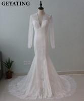 Vintage Lace Long Sleeves Wedding Dress Mermaid Deep V Neck Open Back Vestido De Novia 2017
