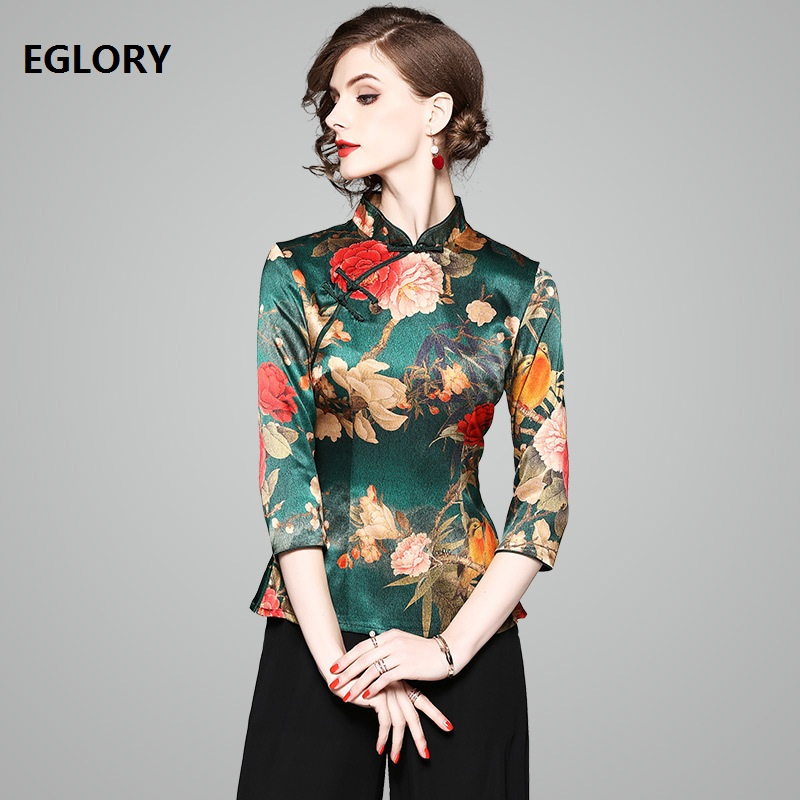 2018 Spring Blouse Tops for Women Charming Flower Print Three Quarter Sleeve Dark Green Elegant Blouses Slim Fit Party Shirts