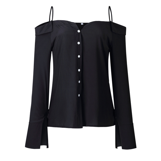 6ff0b9a0a2ba4 LOSSKY Autumn Fashion Women White Shirts Long Sleeve V Neck Backless Off  Shoulder Spaghetti Strap Ladies Casual Blouse Tops 2018