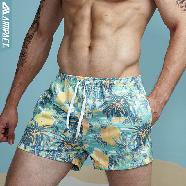 Aimpact Breathable Men's Shorts Summer Elastic Waist Men's Board Shorts Leisure Pattern Print Beach Shorts for Men 2PF70