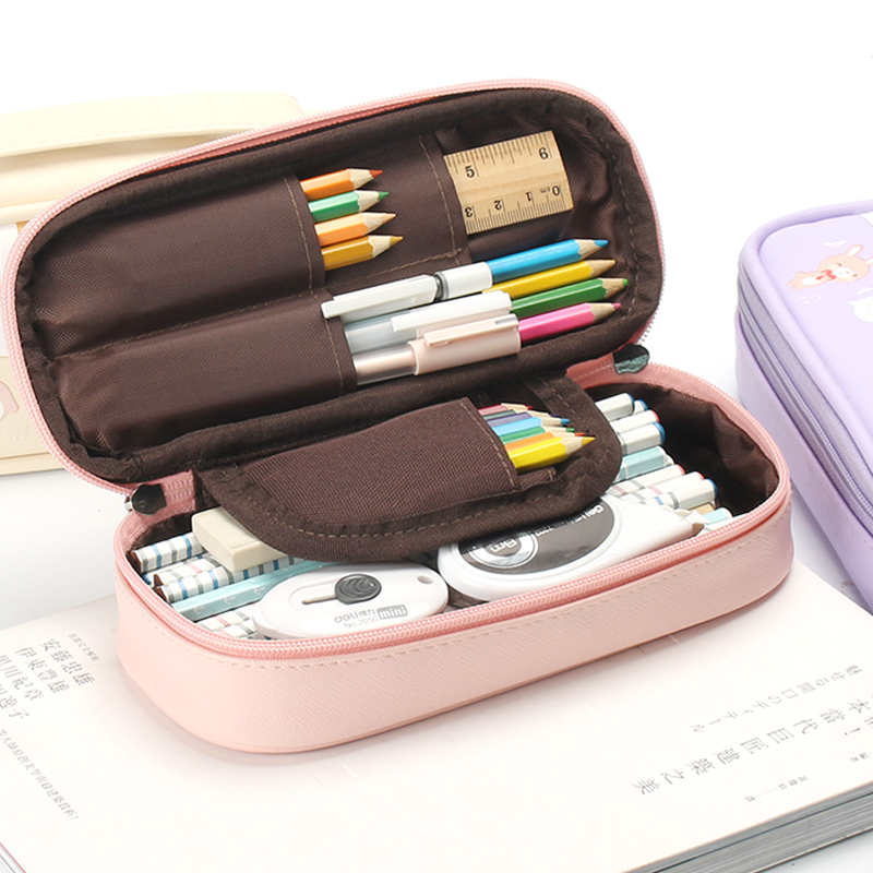 Pencil Bags For School Boy Pen Case Girl Cute Leather Storage Kawaii Stationery Pouch Office Lapiceras Estuches School Supplies esd safe 75w soldering handpiece t245a solder iron handle for di3000 intelligent soldering station
