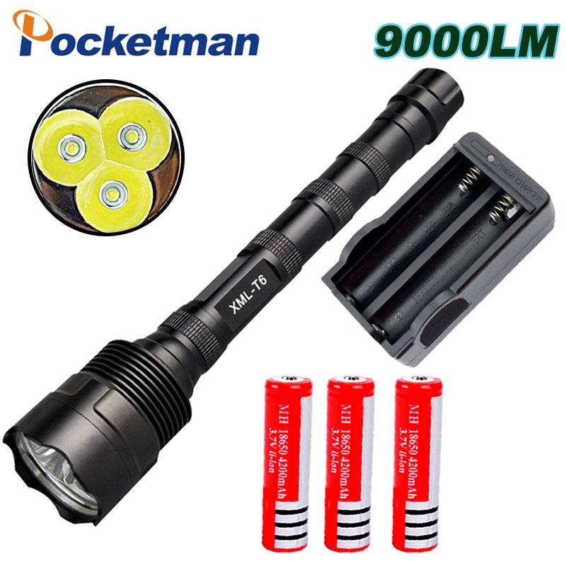 9000Lumen LED Flashlight CREE XM L 3T6 Power 5 Mode Torch Lamp Light Super Bright led