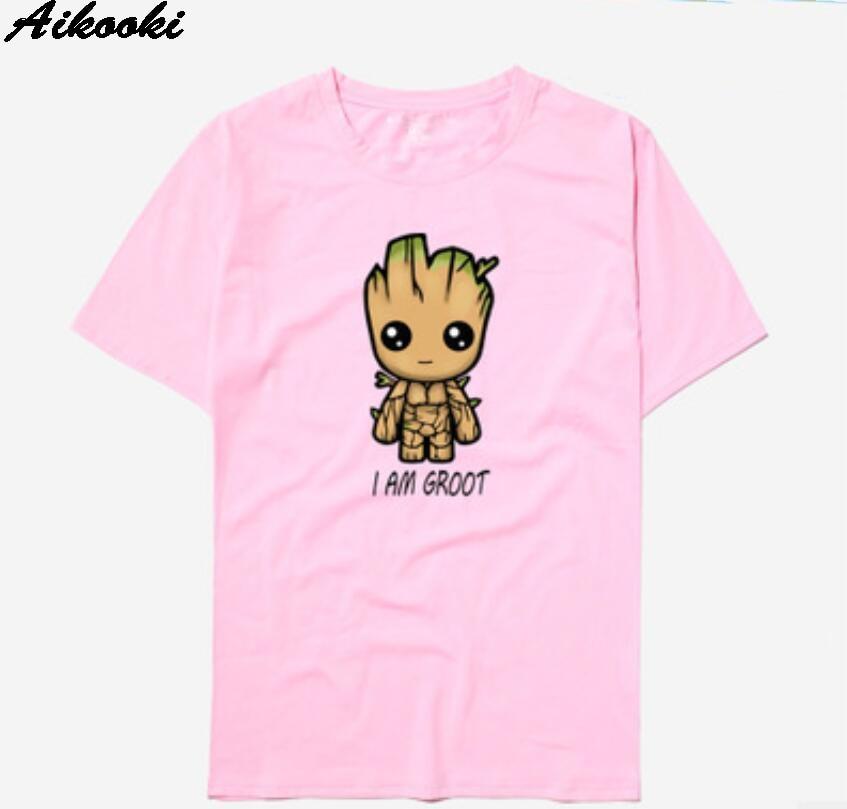 Aikooki Funny Anime I AM GROOT T shirt Men Harajuku Avengers Alliance Men/Women T-Shirt Groot Tshirt Short Sleeve Summer Tops