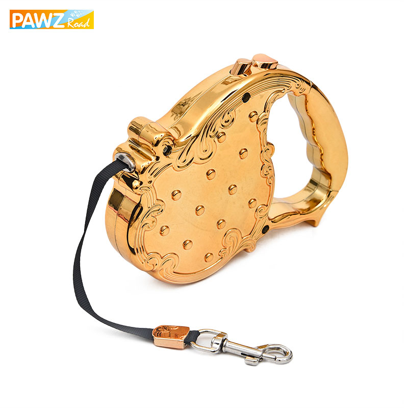 Pet Dog Lead Leashes Pet Auto Leash Retractable Valp Luxury Design 3-7M Lång Traction Rope Chain Toppkvalitet Guld / Sliver Färger