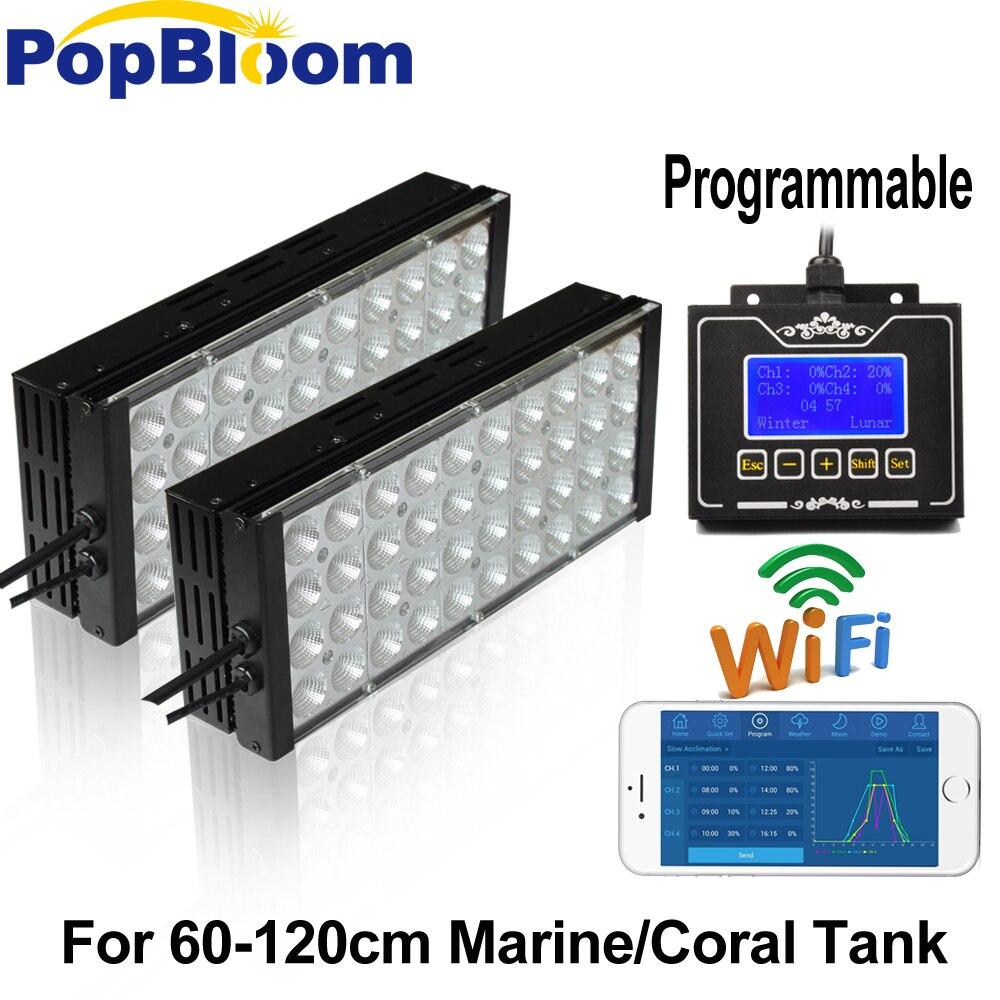 Programmable 2 PCS PopBloom Dimmable LED Aquarium Éclairage Corail Marin Récif Plein Spectre poissons 60-120 cm réservoir lampe MB3BP2