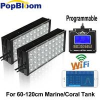 Programmable 2PCS PopBloom Dimmable LED Aquarium Lighting Coral Marine Reef Full Spectrum fish 60 120cm tank lamp MB3BP2