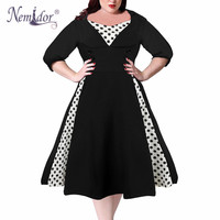 Nemidor 2019 Women Vintage Half Sleeve Dot Patchwork Plus Size A line Dress Elegant O neck 7XL Party Midi Rockabilly Swing Dress