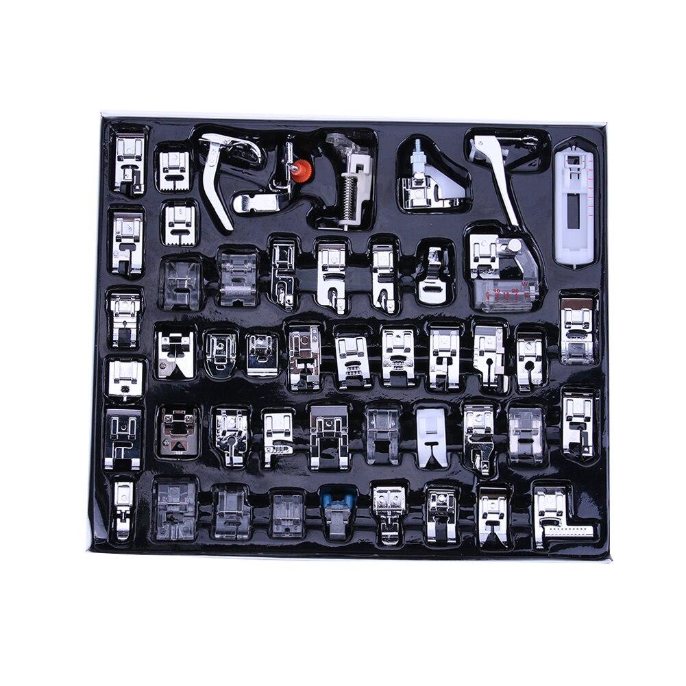 48 Pcs Para O Cantor Irmão Janom Multifunções Trançar o Ponto Cego Da Máquina de Costura Doméstica Calcador Darning Pé Pés Kit Set