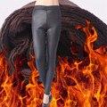 Black Faux Leather Pants Women 2016 Thicken Winter Warm PU High Waist Elastic Fleece Stretch Slim Pencil Female Trouser