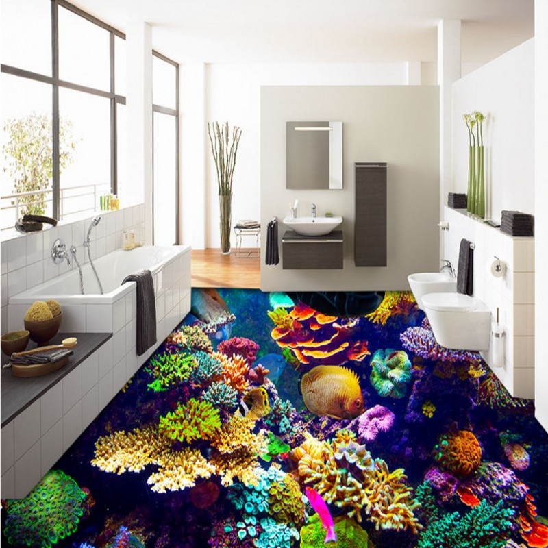 ФОТО Free Shipping beautiful underwater world Coral flooring wallpaper courtyard street decorative waterproof floor mural
