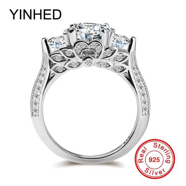 YINHED 2017 New Wedding Band Ring Stamp S925 Retro Flower Jewelry 925 Sterling Silver CZ
