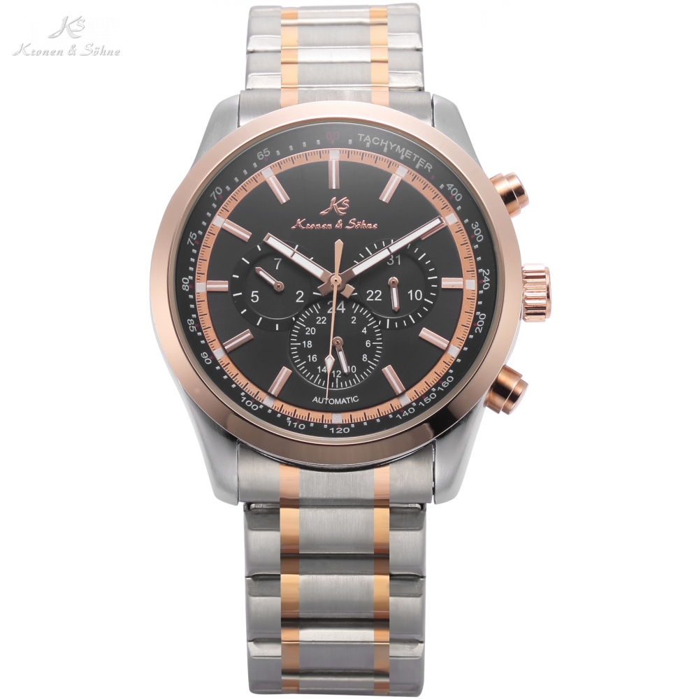 Navigator KS Series Automatic Date Day Rose Golden Case Black Dial Steel Band Mechanical Watch Mens Business Wristwatch / KS309 ks navigator series auto date day month display male leather strap clock white wristwatch men automatic mechanical watch ks178