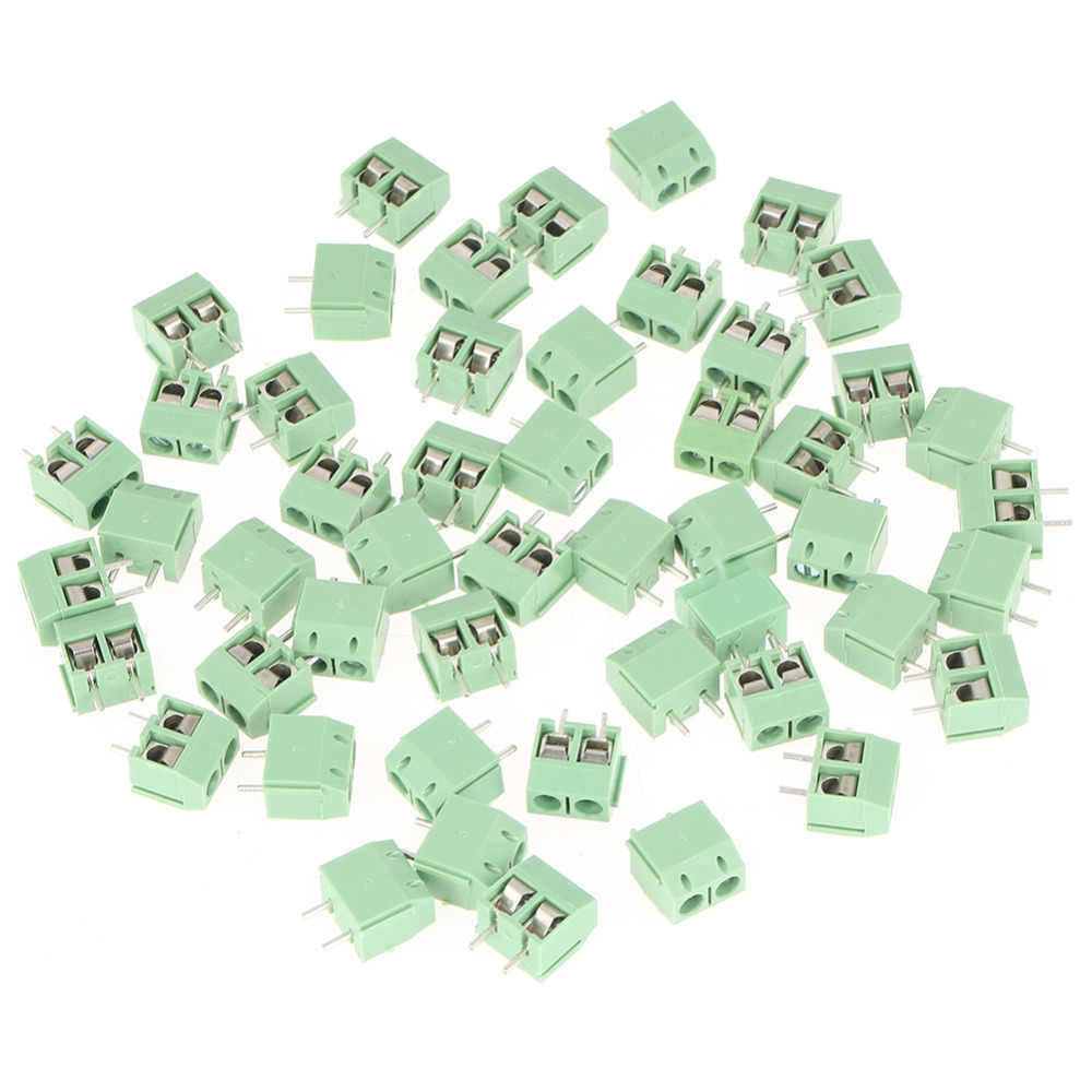 50pcs/set 2 Pin 5mm Pitch Green PCB Universal Screw Terminal Block Connector 2PinTerminal Block Connector