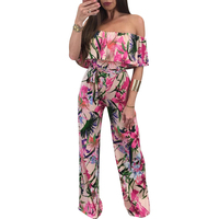 2017 Spring Summer New Fashion Hot Style Women S Printed Flowers Jumpsuit Pants Sexy Word Collar