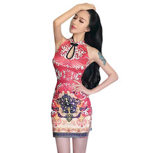 2019 New Fashion Sexy Dress Retro Print Thin Split Hip Bag Cheongsam YH99