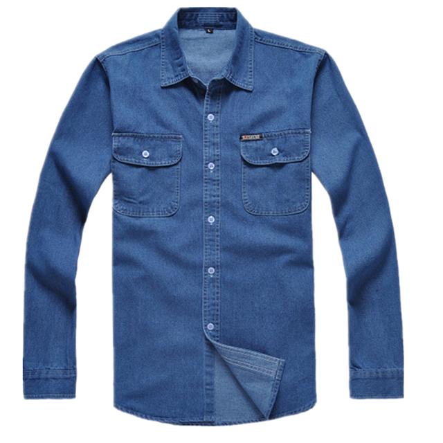 Envío gratuito de algodón de manga larga hombre más la camiseta floja ropa de trabajo azul hombres jeans camisa de hombre Chemise Homme