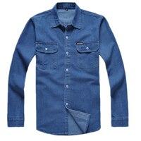 Novo Homem de algodão Denim denim longo-luva camisa masculina tamanho lager solta camisa Azul desgaste do trabalho dos homens calça jeans camisa homens Chemise Homme