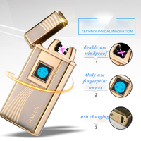 True Fingerprint Identification Lighter Usb Double Arc Electric Lighter Windproof Flameless Cigarette Lighters As Gift JL 940V