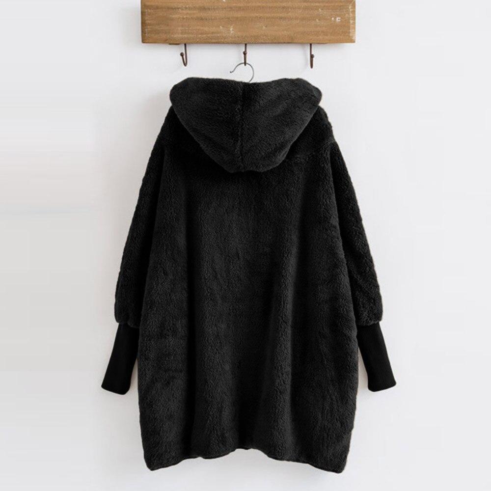 Women Hooded Coat Winter Warm Plush Pockets Cotton Coat Outwear Casual Hoodies Jacket Overcoat Top female outerwear 14