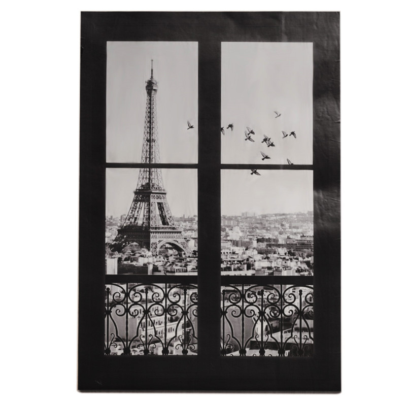 3D Scenery Of Paris Eiffel Tower Occident Fake Window Wall Stickers Living Room Bedroom Decals Art Home Wall Door Window Decor