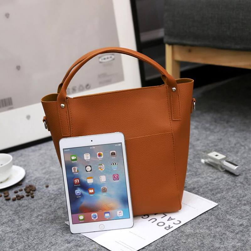 4Pcs/Set Pu Leather Bucket Bags For Women  Clutch Shoulder Crossbody Bag Purses And Handbags Bolsos Mujer Sac A Main Femme