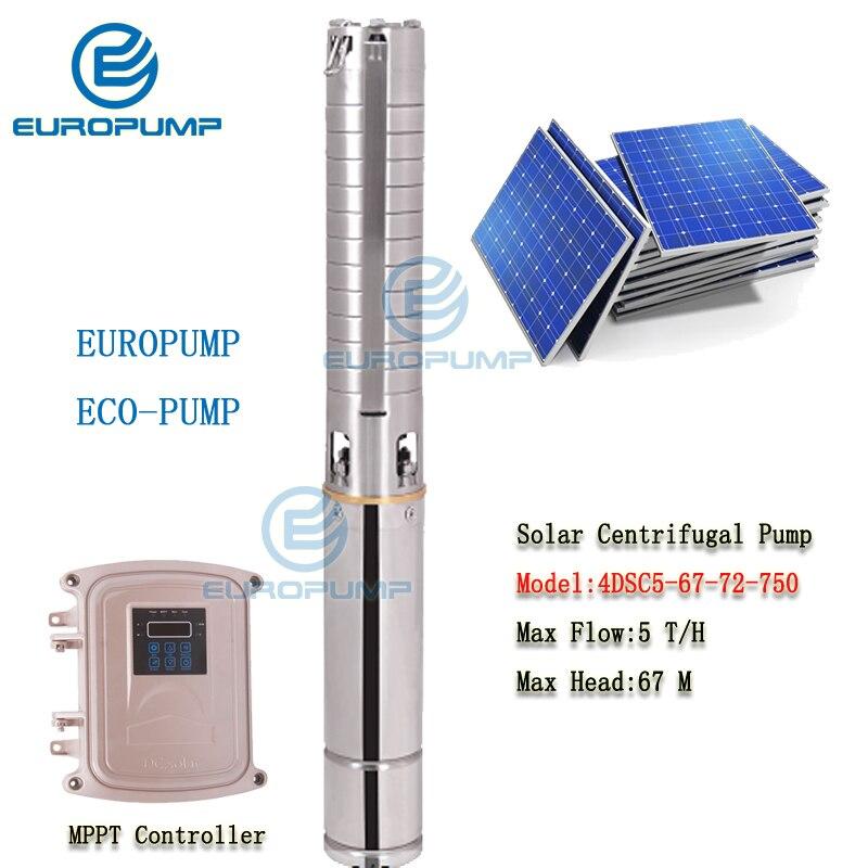 EUROPUMP MODEL(4DSC5-67-72-750) Solar Pump Stainless Steel 304 Impeller Borehole Sun Power High Pressure 1HP Max head 67m 5TH
