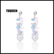 TDQUEEN Simulated Pearl Dangle Earrings Opal Pink White Color Multi Layer Flowers Jewelry Rhinestone ZA Statement Drop Earrings(China)