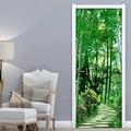 Tür Aufkleber Wasserdicht Wohnzimmer Schlafzimmer Tür Tapete Selbst Adhesive Wand Abziehbilder 3D Bambus Wald Foto Tapete Aufkleber Türaufkleber    -