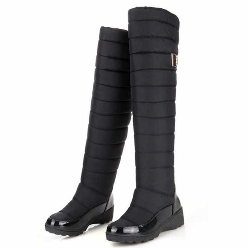 MEMUNIA Nga mùa đông Giày Nữ Ấm Áp đầu gối Cao Giày Mũi Tròn xuống lông thời trang nữ đùi Ủng Giày Chống Nước botas