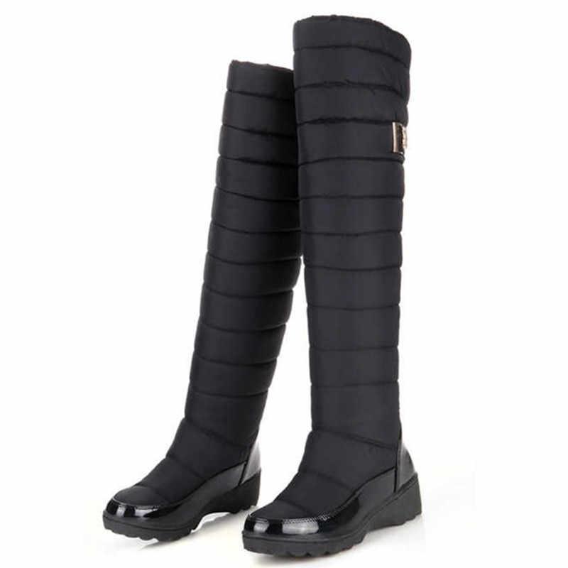 MEMUNIA Rusya kış botları kadınlar sıcak diz yüksek çizmeler yuvarlak ayak aşağı kürk bayanlar moda uyluk kar botları ayakkabı su geçirmez botas