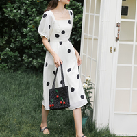 Korean Style Women Puff Sleeve Dot Polka Dress Female Square Collar Summer Chiffon Dress Korean Style Ladies Backless Dress
