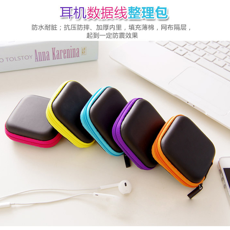 Hot Sale Black Fiber Zipper Headphones Earphone Earbuds Hard case Storage Carrying Pouch bag SD Card Hold box portable Carry Bag