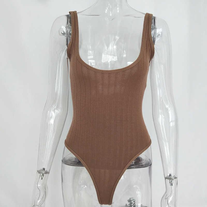 Женский трикотажный боди без рукавов Articat, белый повседневный обтягивающий комбинезон на лето