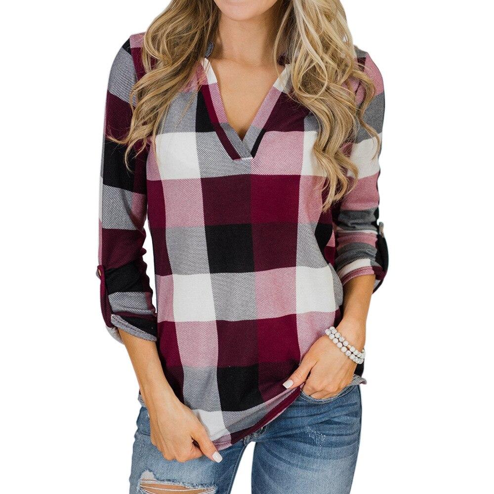 V-neck Blouse Women Long Sleeve Plaid Shirt Top Spring Autumn Casual Office Blouse Blusas Mujer De Moda 2018 Blouses Feminine5