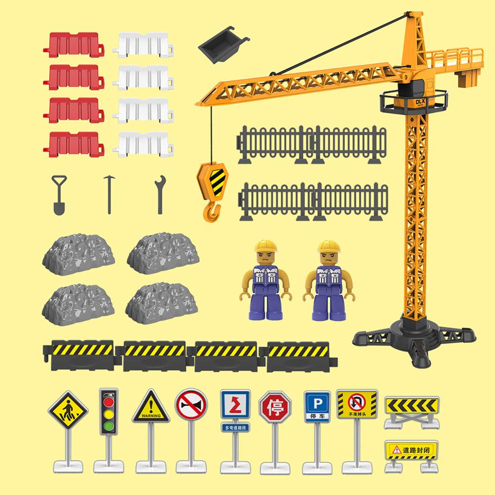 Construction Tower Crane Site Road Signs Traffic Light Accessories Diecast Toy City Building Play Set Engineering Toys For Boys