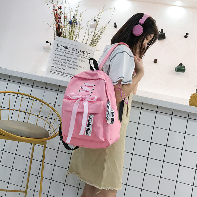 Ribbons School Bags for Teenage Girls Korean Harajuku Ulzzang Student Mini  Backpack Women Pink Canvas Backpack b6eed36d799eb