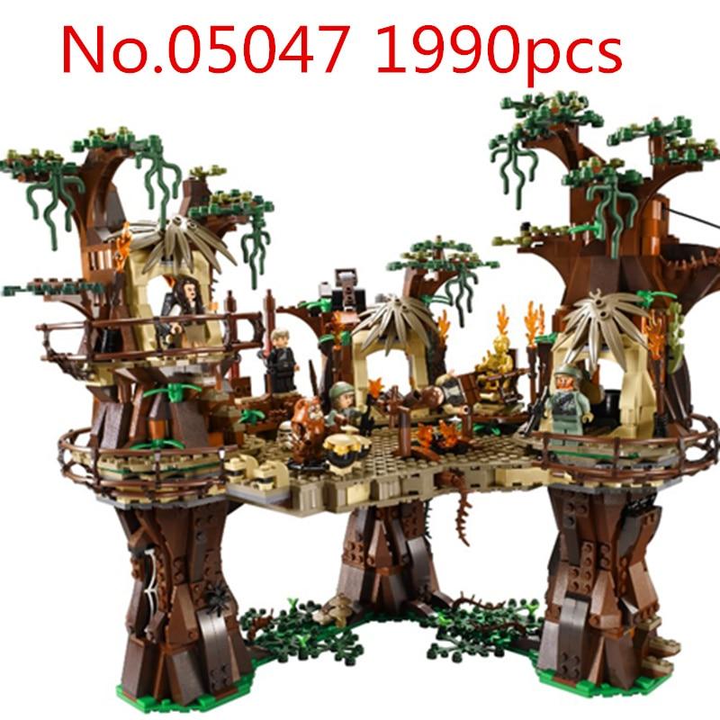 Legoingly Star War 1990 pcs 05047 Ewok Village Construction Blocs Juguete Para Construir Briques Jouets Compatible lepin 36010 l hiver village marche ensemble assemblage1412pcs 10235 blocs de construction briques jouets educatifs cadeaux