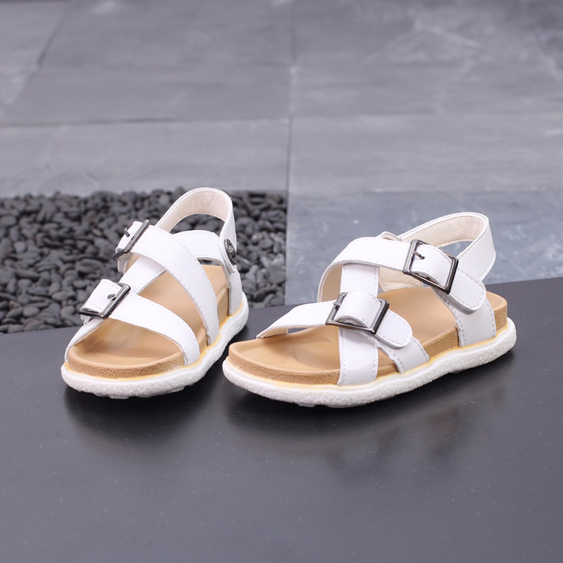 Fashion Childrens Sandals Genuine Leather Shoes Boys Summer Shoes Kids  Shoes Girls Beach Shoes Black White 5f160447f448
