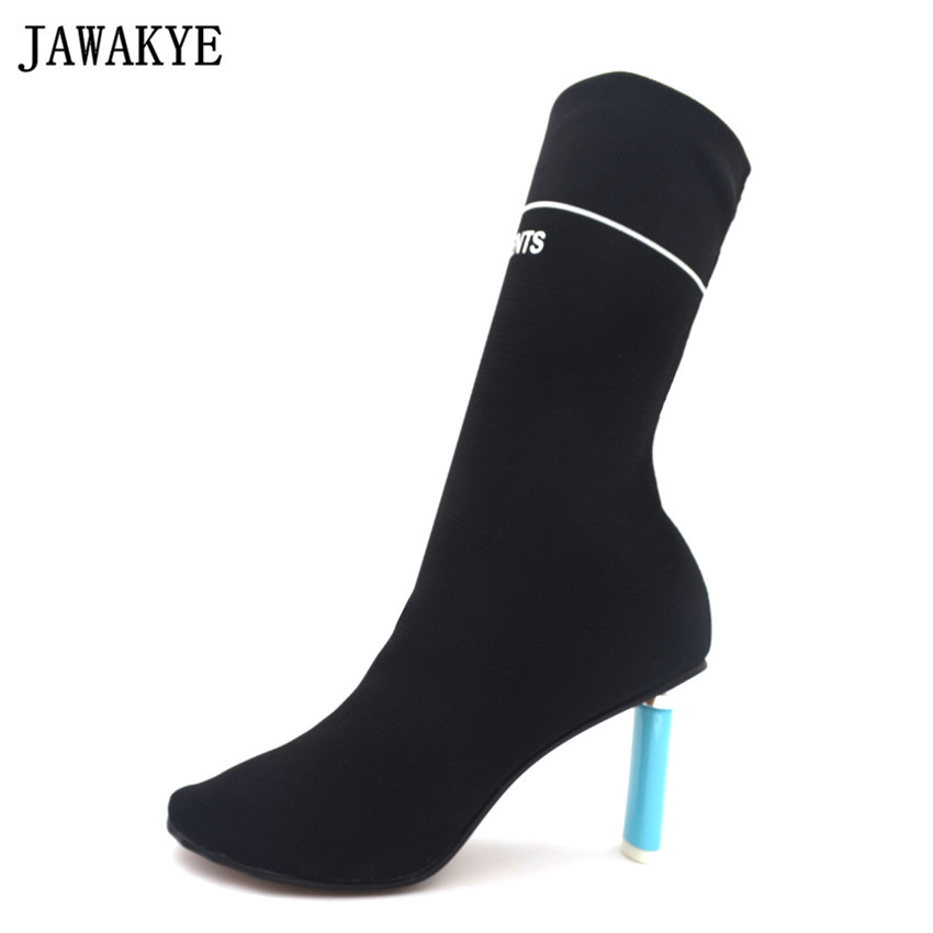 JAWAKY New Design Classic Lighter Inspired High Heels Elastic Ankle Boots for Women Knitted Over The
