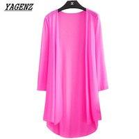 YAGENZ Yaz Kimono Hırka Kadınlar Gevşek Bluzlar Ince 3/4 Kollu Plaj Gömlek ceket Eğlence Güneş Koruyucu Giyim A118 5XL tops