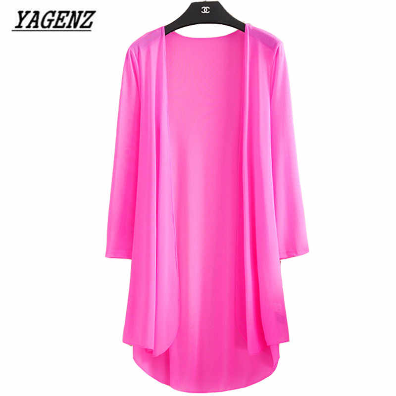 Yagenz 여름 기모노 카디건 여성 느슨한 블라우스 얇은 3/4 슬리브 비치 셔츠 코트 레저 선 스크린 의류 탑스 5xl a118