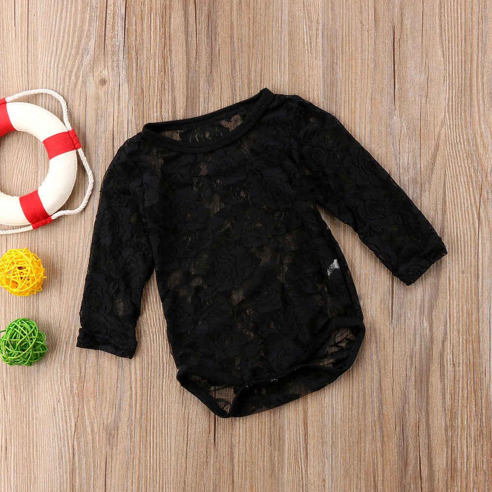 2018 מותג חדש יילוד תינוקות פעוט התחרה קיץ תינוקות בנות חליפת קיץ בגד גוף סרבל Playsuit מוצק שרוול ארוך ביגוד 0-18 M