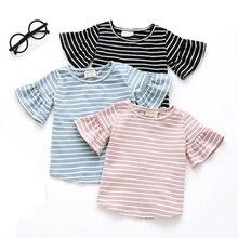 Одежда для маленьких девочек Детские футболки с рукавами в виде листьев лотоса футболка в полоску с короткими рукавами летние мягкие топы из хлопка, одежда для маленьких девочек