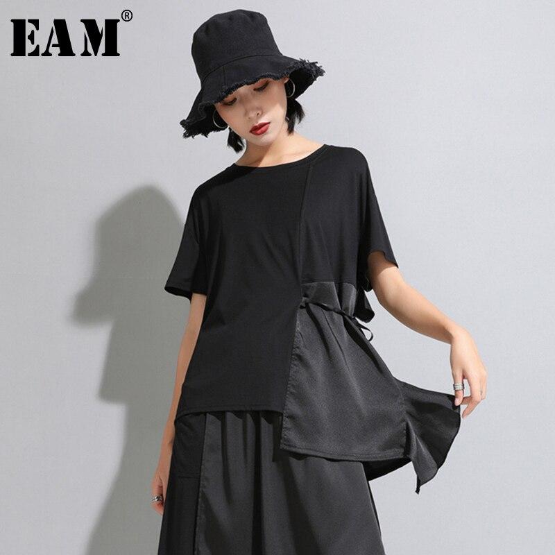 [EAM] 2020 New Spring Summer Round Neck Short Sleeve Black Irregular Split Joint Loose Temperament T-shirt Women Fashion JW595