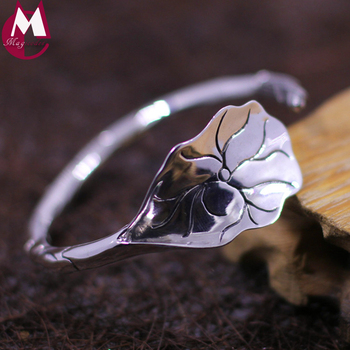 100% 925 Sterling Silver Bracelets For Women Simple Handmade Lotus Leaf Trendy Fashion Leaves Bangles Plant Fine Jewelry SB31