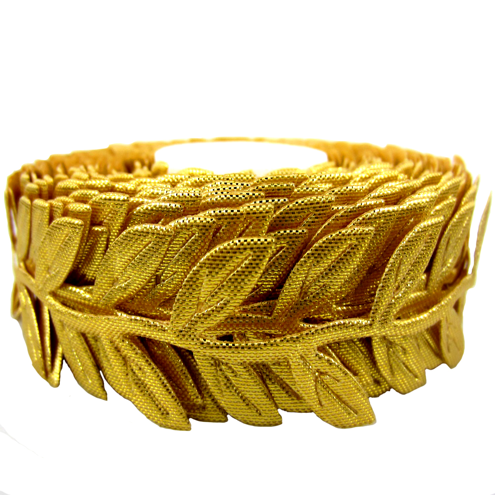 Free shipping 1 Roll 20yards Gold Leaf Leaves Ribbon For craft Decoration Satin